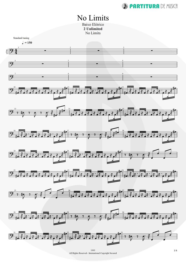 Partitura de musica de Baixo Elétrico - No Limit | 2 Unlimited | No Limits 1993 - pag 1