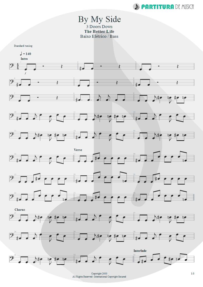 Partitura de musica de Baixo Elétrico - By My Side | 3 Doors Down | The Better Life 2000 - pag 1