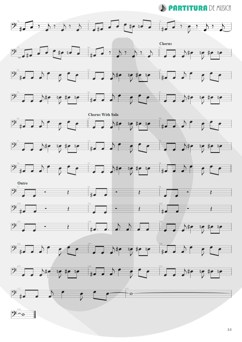 Partitura de musica de Baixo Elétrico - By My Side | 3 Doors Down | The Better Life 2000 - pag 3