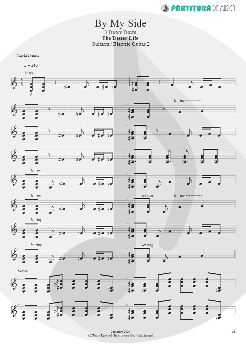 Partitura de musica de Guitarra Elétrica - By My Side | 3 Doors Down | The Better Life 2000 - pag 1
