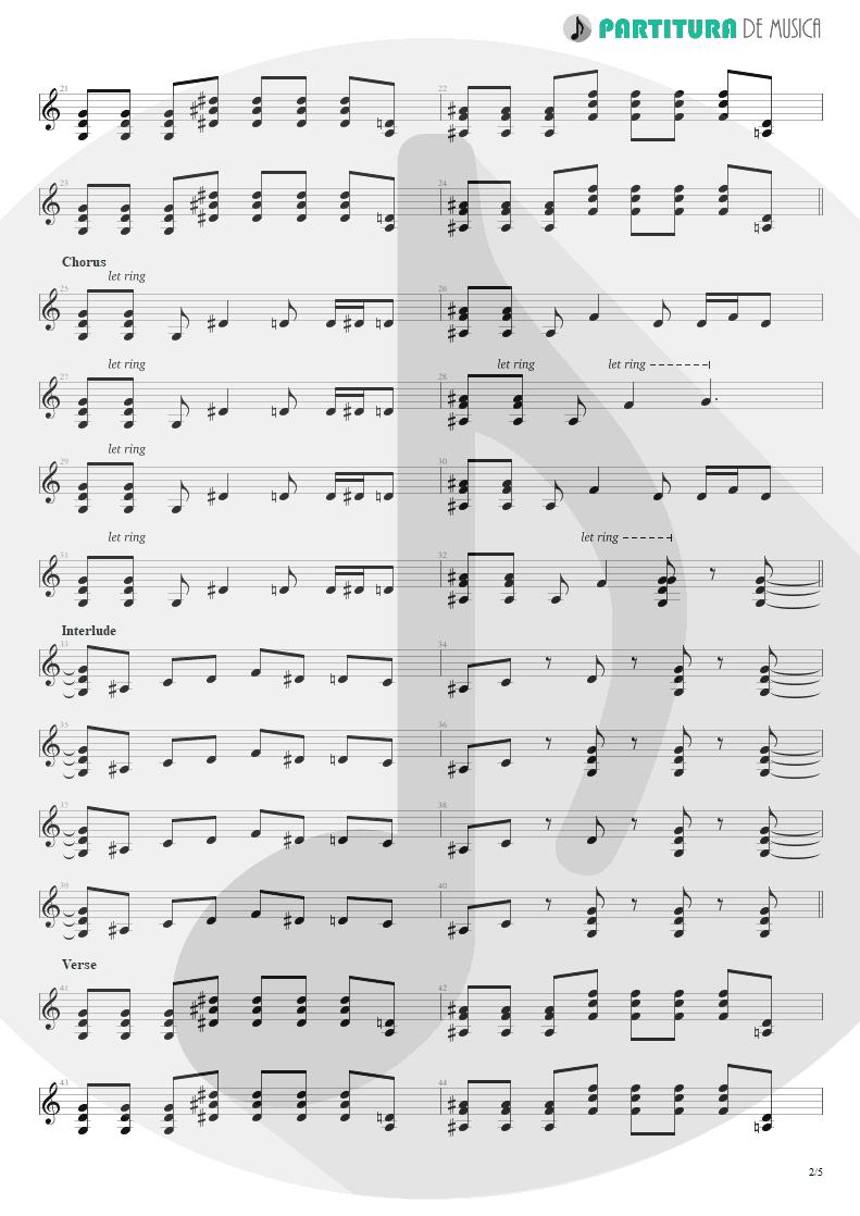 Partitura de musica de Guitarra Elétrica - By My Side | 3 Doors Down | The Better Life 2000 - pag 2