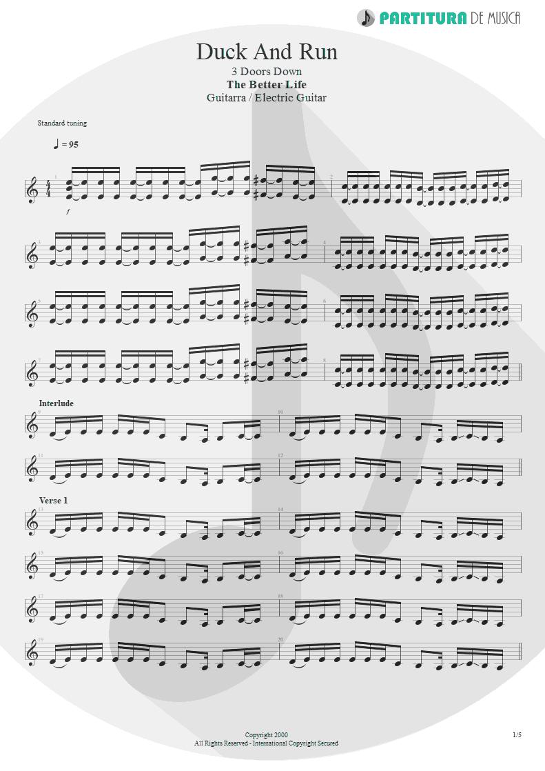 Partitura de musica de Guitarra Elétrica - Duck And Run | 3 Doors Down | The Better Life 2000 - pag 1
