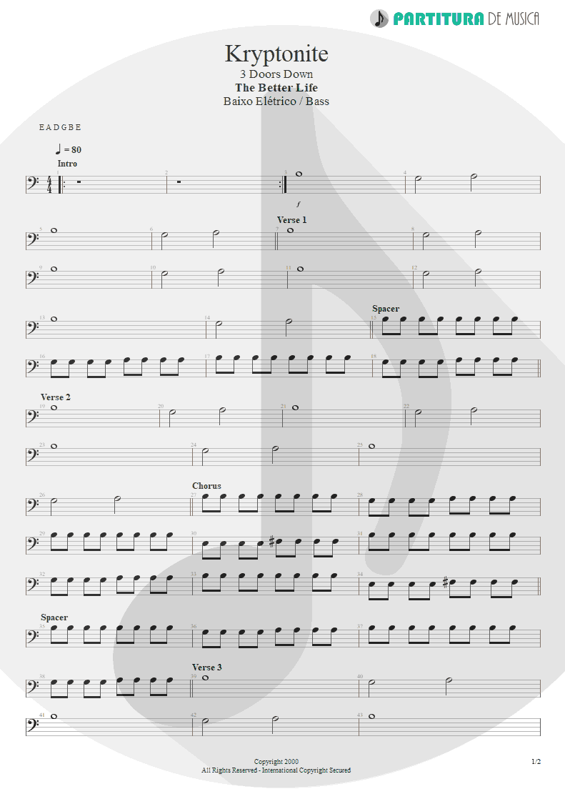 Partitura de musica de Baixo Elétrico - Kryptonite | 3 Doors Down | The Better Life 2000 - pag 1