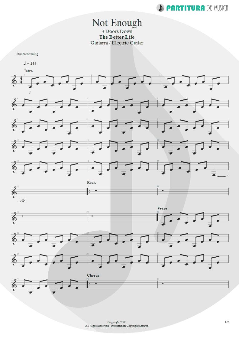 Partitura de musica de Guitarra Elétrica - Not Enough | 3 Doors Down | The Better Life 2000 - pag 1