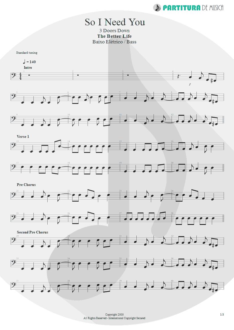 Partitura de musica de Baixo Elétrico - So I Need You   3 Doors Down   The Better Life 2000 - pag 1