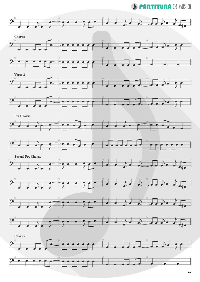 Partitura de musica de Baixo Elétrico - So I Need You   3 Doors Down   The Better Life 2000 - pag 2