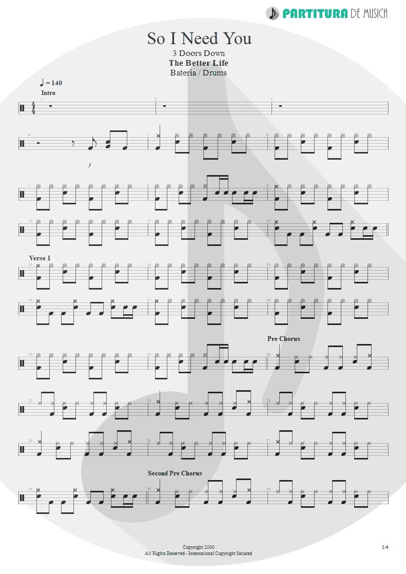 Partitura de musica de Bateria - So I Need You | 3 Doors Down | The Better Life 2000 - pag 1