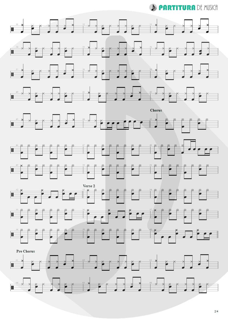 Partitura de musica de Bateria - So I Need You | 3 Doors Down | The Better Life 2000 - pag 2