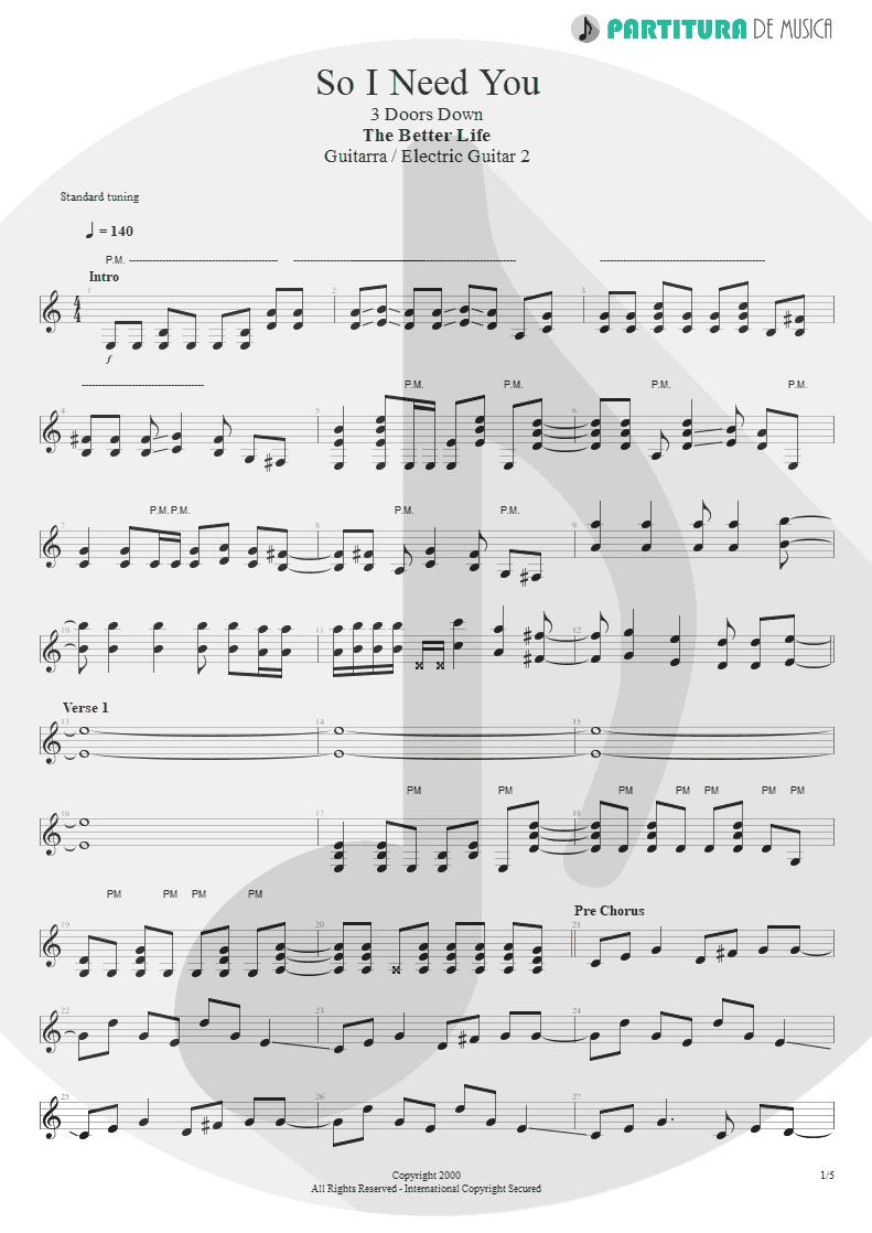 Partitura de musica de Guitarra Elétrica - So I Need You | 3 Doors Down | The Better Life 2000 - pag 1