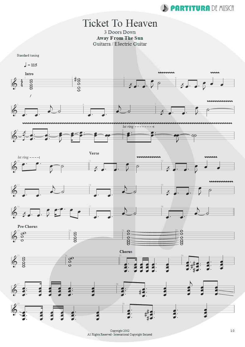 Partitura de musica de Guitarra Elétrica - Ticket To Heaven   3 Doors Down   Away from the Sun 2002 - pag 1
