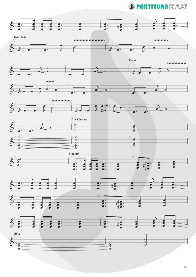 Partitura de musica de Guitarra Elétrica - Ticket To Heaven   3 Doors Down   Away from the Sun 2002 - pag 2