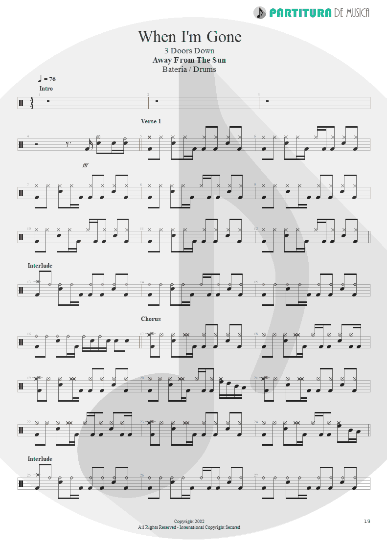 Partitura de musica de Bateria - When I'm Gone | 3 Doors Down | Away from the Sun 2002 - pag 1