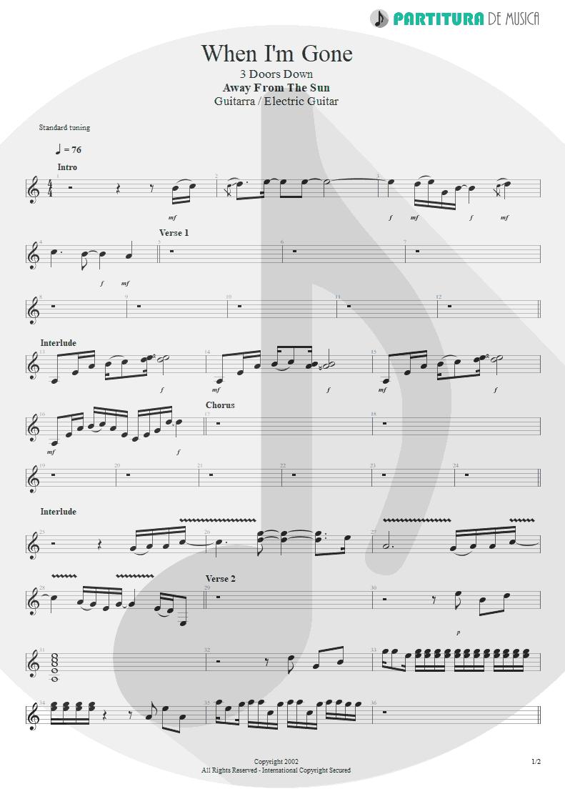 Partitura de musica de Guitarra Elétrica - When I'm Gone | 3 Doors Down | Away from the Sun 2002 - pag 1