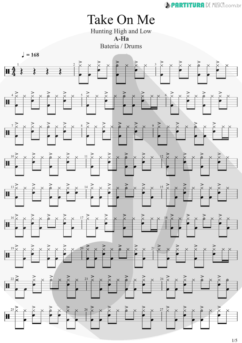 Partitura de musica de Bateria - Take On Me | A-Ha | Hunting High And Low 1985 - pag 1