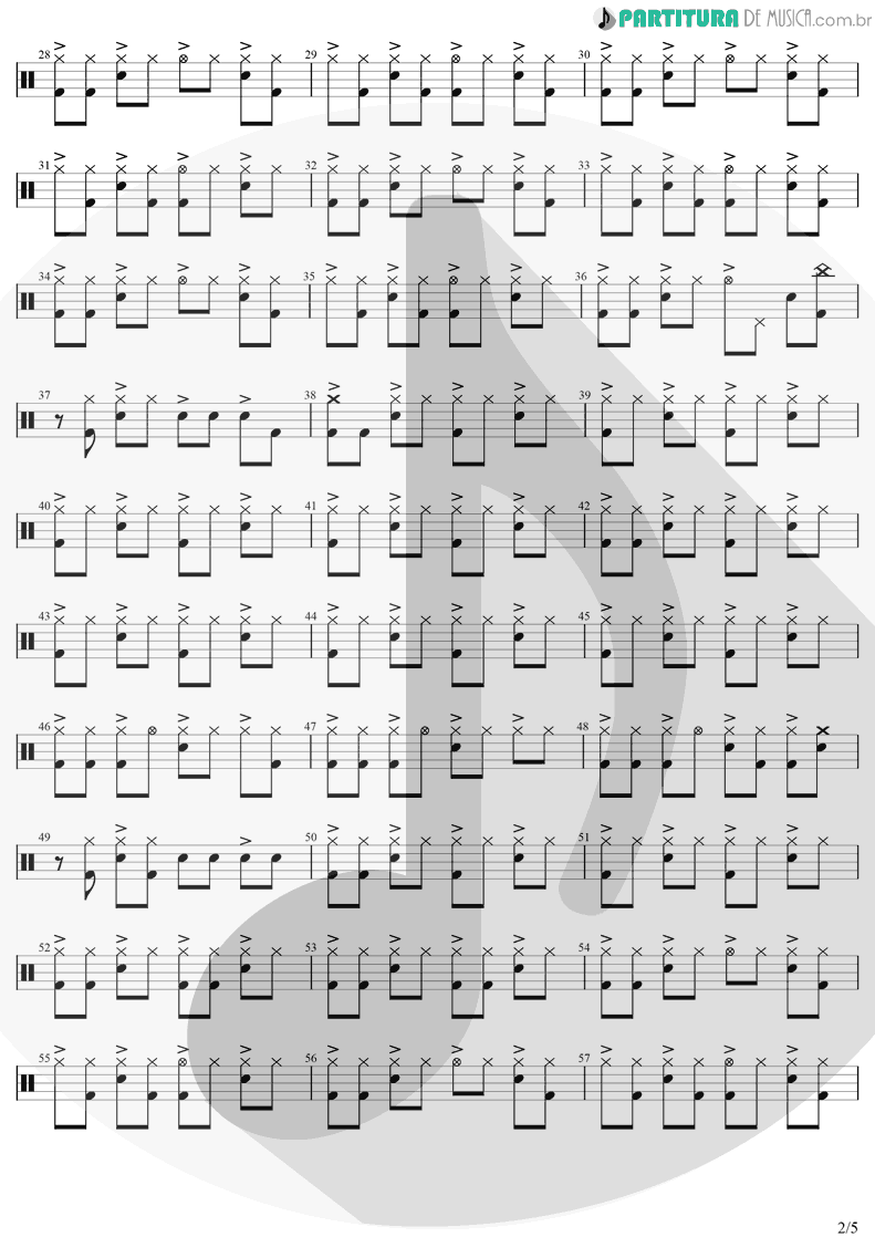 Partitura de musica de Bateria - Take On Me | A-Ha | Hunting High And Low 1985 - pag 2