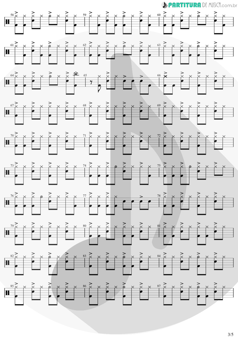 Partitura de musica de Bateria - Take On Me | A-Ha | Hunting High And Low 1985 - pag 3