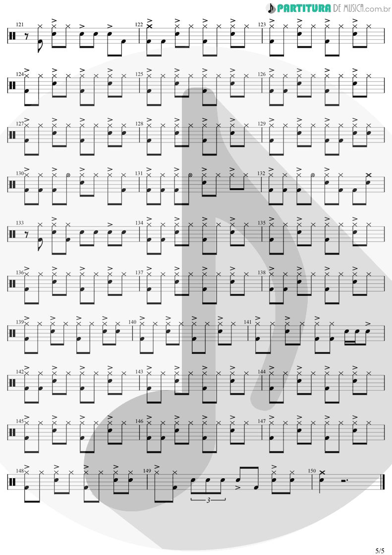 Partitura de musica de Bateria - Take On Me | A-Ha | Hunting High And Low 1985 - pag 5