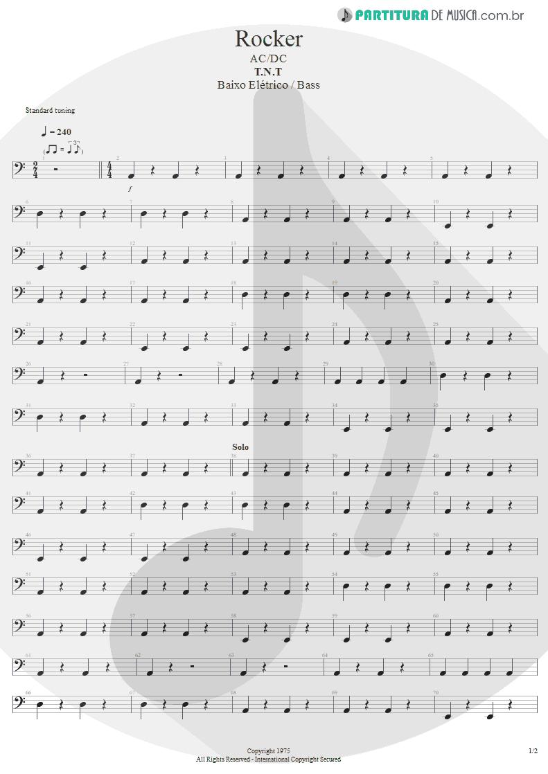 Partitura de musica de Baixo Elétrico - Rocker | AC/DC | T.N.T. 1975 - pag 1