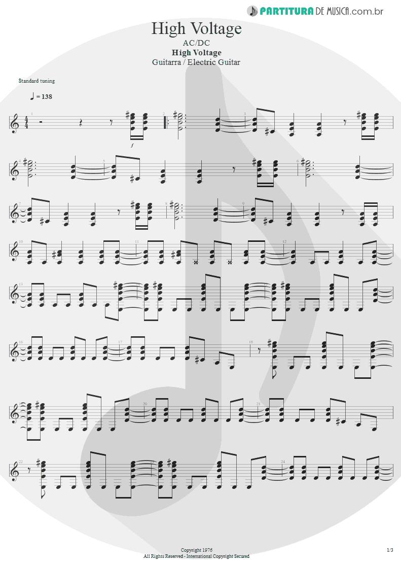 Partitura de musica de Guitarra Elétrica - High Voltage   AC/DC   High Voltage 1976 - pag 1