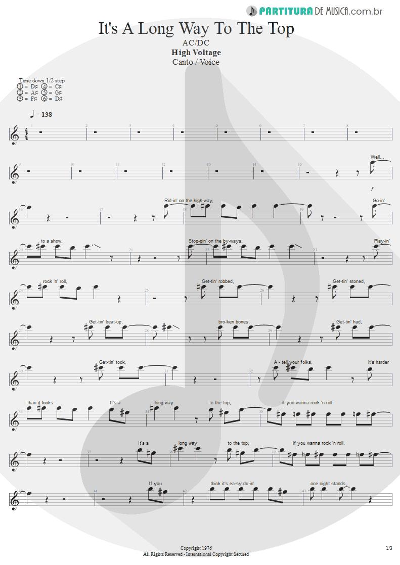 Partitura de musica de Canto - It's A Long Way To The Top | AC/DC | High Voltage 1976 - pag 1