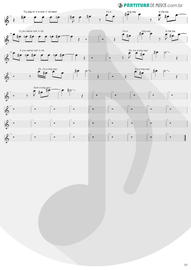 Partitura de musica de Canto - It's A Long Way To The Top | AC/DC | High Voltage 1976 - pag 3
