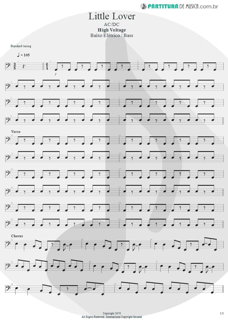 Partitura de musica de Baixo Elétrico - Little Lover | AC/DC | High Voltage 1976 - pag 1