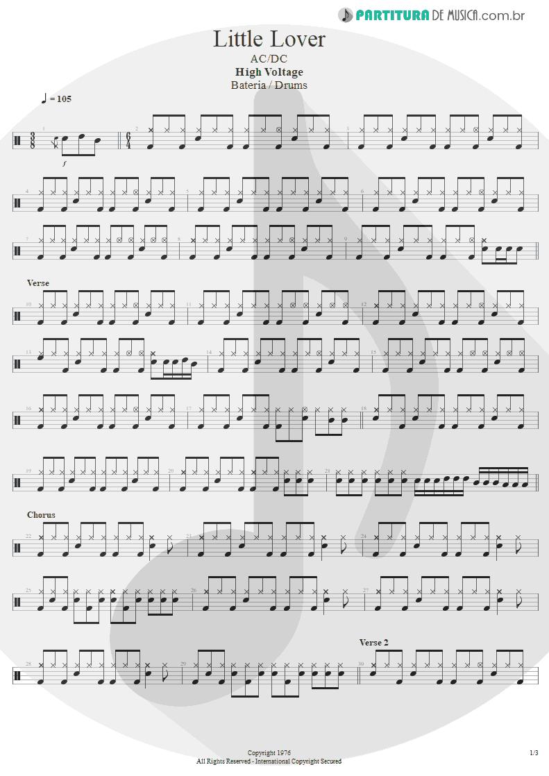 Partitura de musica de Bateria - Little Lover | AC/DC | High Voltage 1976 - pag 1
