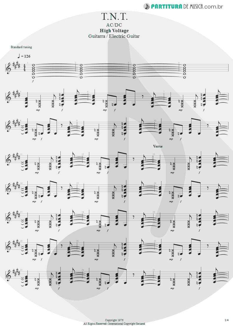 Partitura de musica de Guitarra Elétrica - T.N.T. | AC/DC | High Voltage 1976 - pag 1