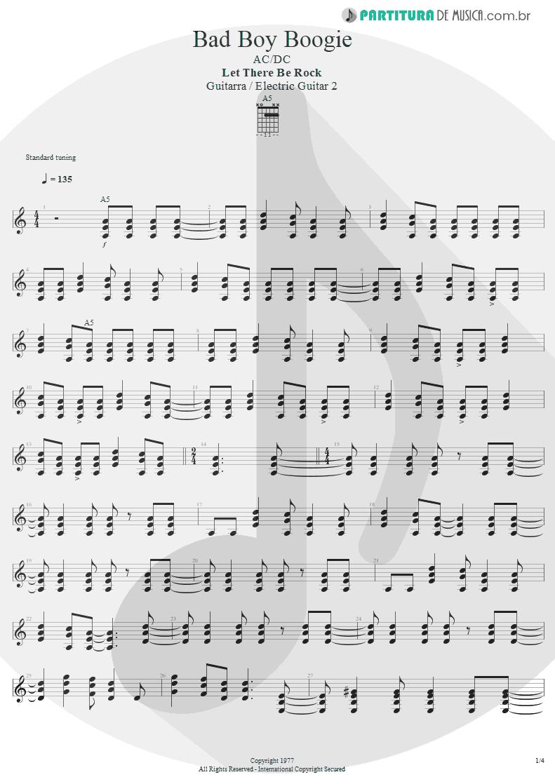 Partitura de musica de Guitarra Elétrica - Bad Boy Boogie | AC/DC | Let There Be Rock 1977 - pag 1