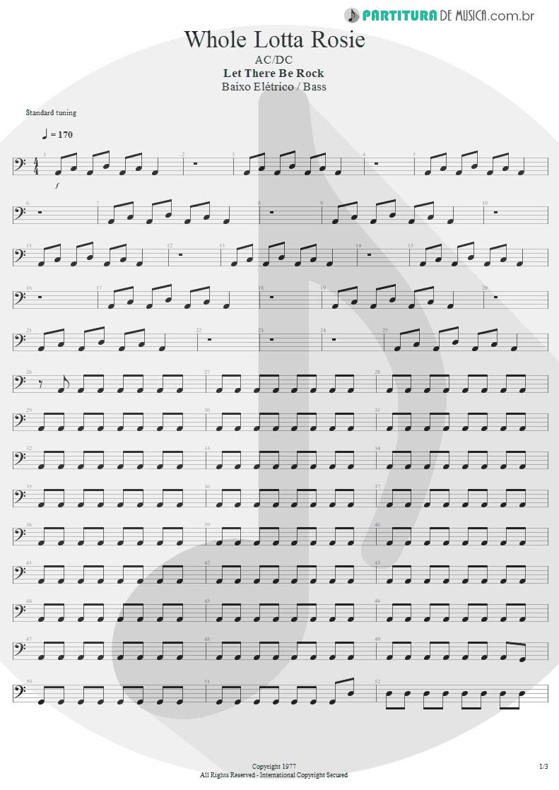 Partitura de musica de Baixo Elétrico - Whole Lotta Rosie | AC/DC | Let There Be Rock 1977 - pag 1