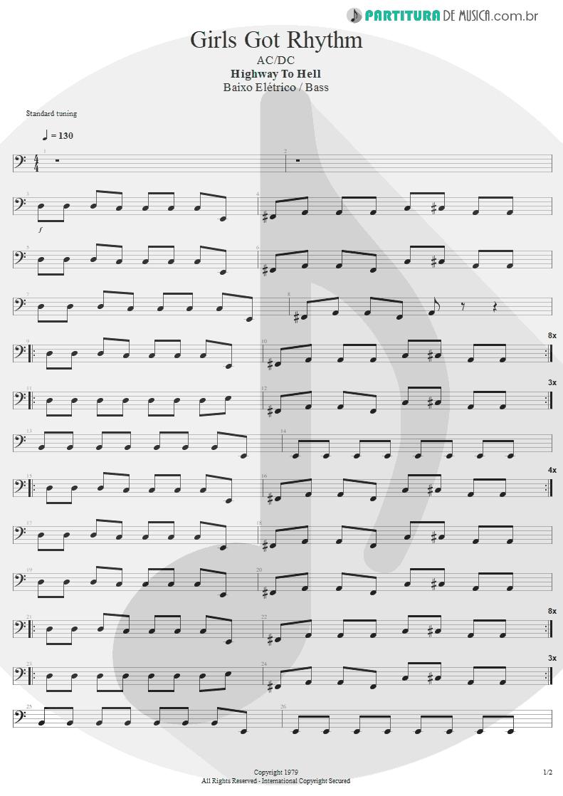 Partitura de musica de Baixo Elétrico - Girls Got Rhythm | AC/DC | Highway to Hell 1979 - pag 1