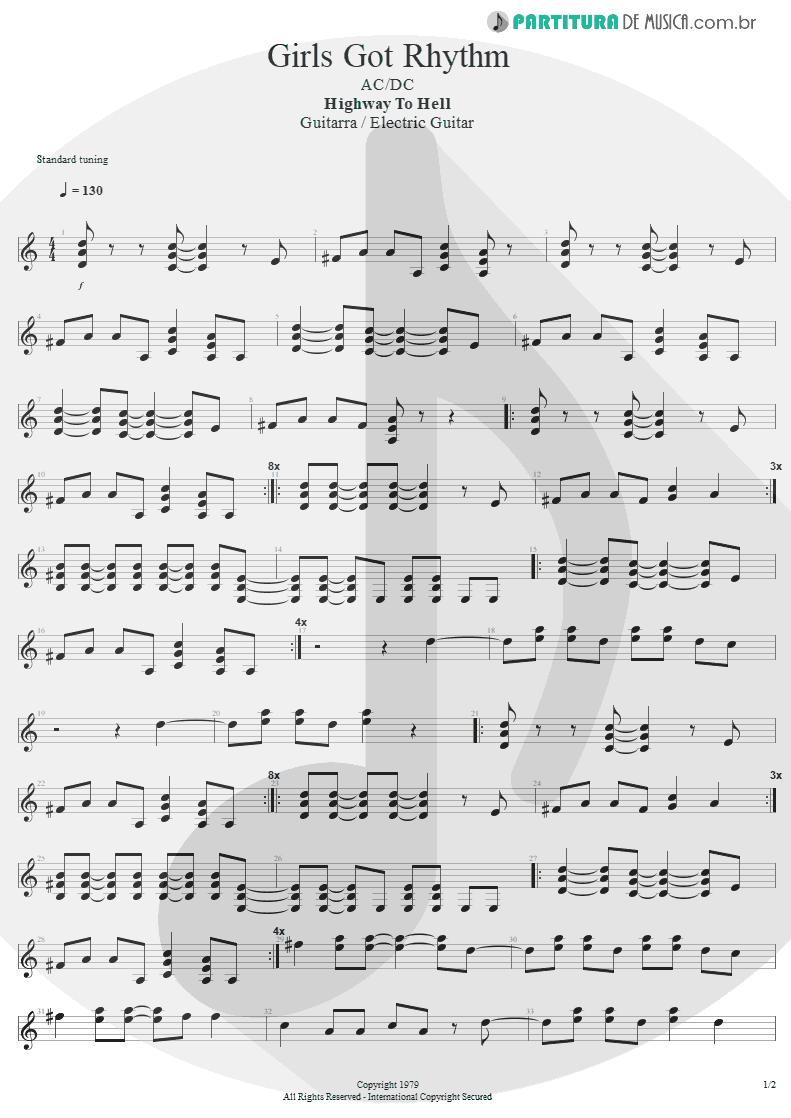 Partitura de musica de Guitarra Elétrica - Girls Got Rhythm | AC/DC | Highway to Hell 1979 - pag 1