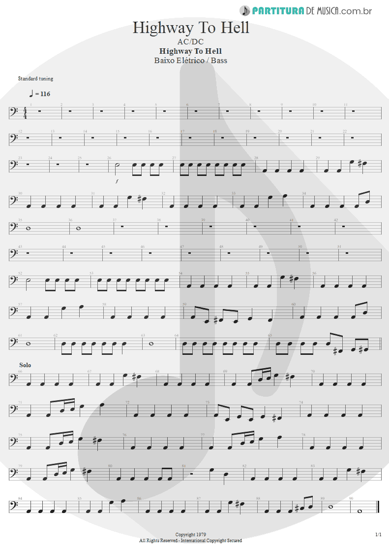 Partitura de musica de Baixo Elétrico - Highway To Hell | AC/DC | Highway to Hell 1979 - pag 1