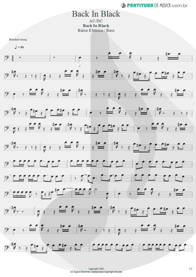 Partitura de musica de Baixo Elétrico - Back In Black   AC/DC   Back In Black 1980 - pag 1