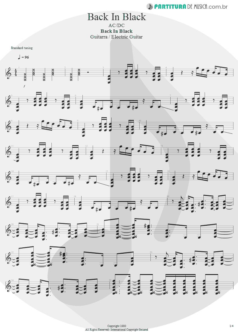 Partitura de musica de Guitarra Elétrica - Back In Black | AC/DC | Back In Black 1980 - pag 1