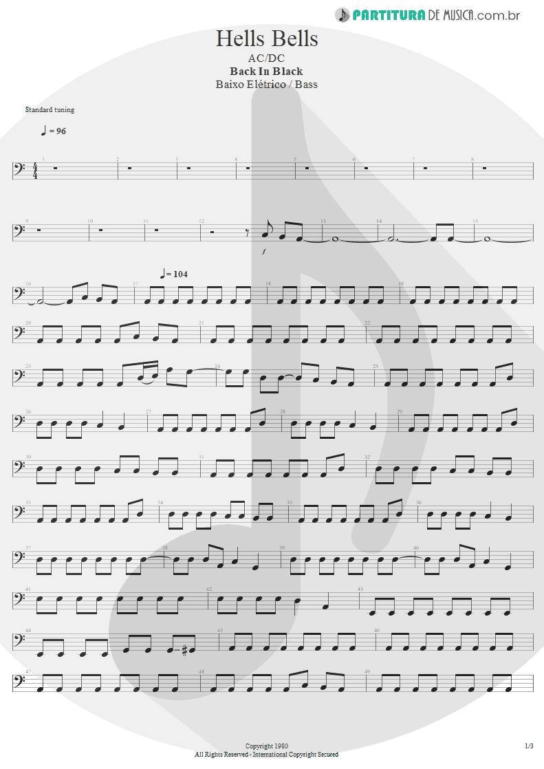Partitura de musica de Baixo Elétrico - Hells Bells | AC/DC | Back In Black 1980 - pag 1