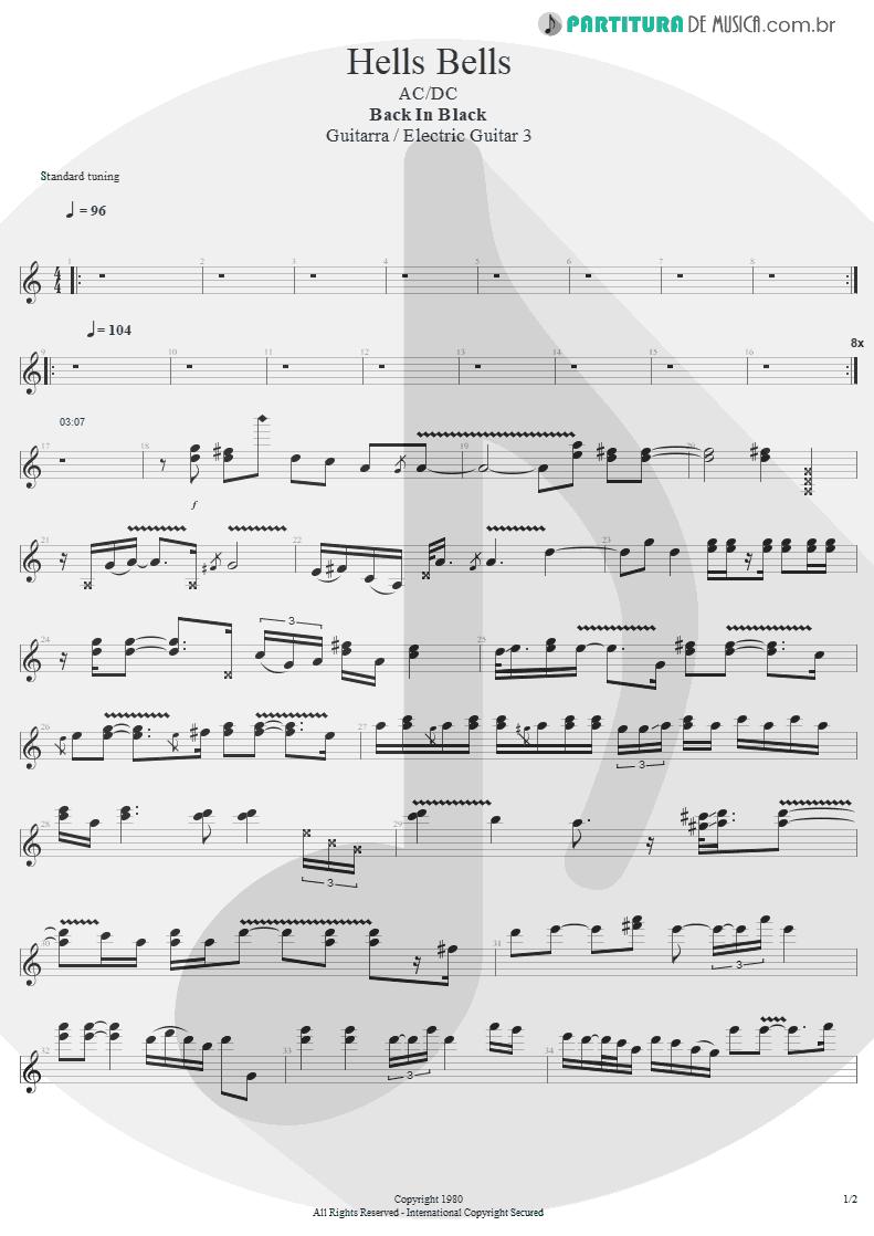 Partitura de musica de Guitarra Elétrica - Hells Bells | AC/DC | Back In Black 1980 - pag 1