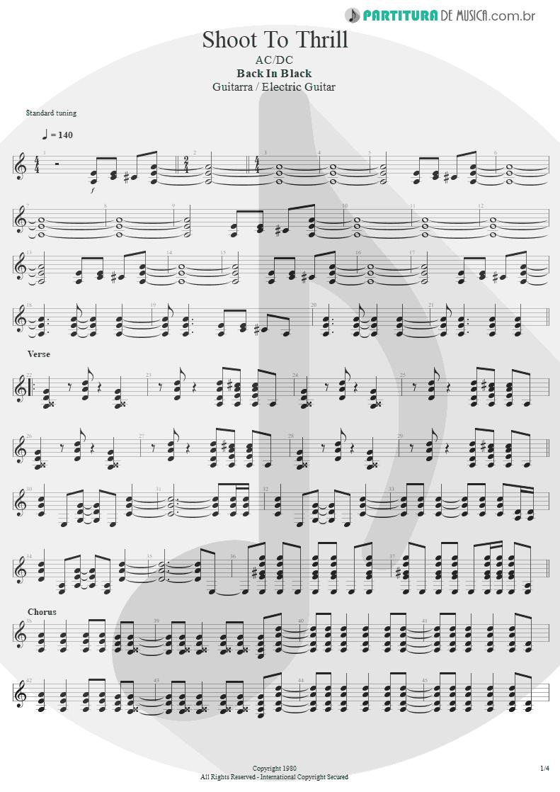 Partitura de musica de Guitarra Elétrica - Shoot To Thrill   AC/DC   Back In Black 1980 - pag 1