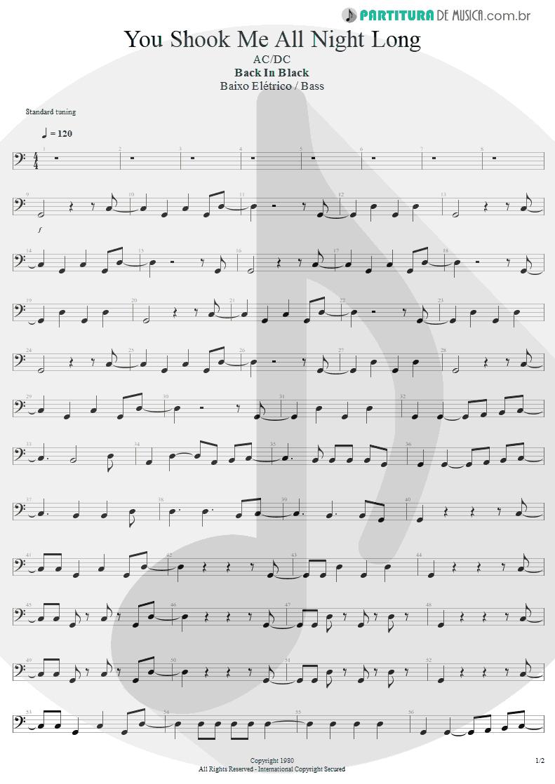 Partitura de musica de Baixo Elétrico - You Shook Me All Night Long   AC/DC   Back In Black 1980 - pag 1