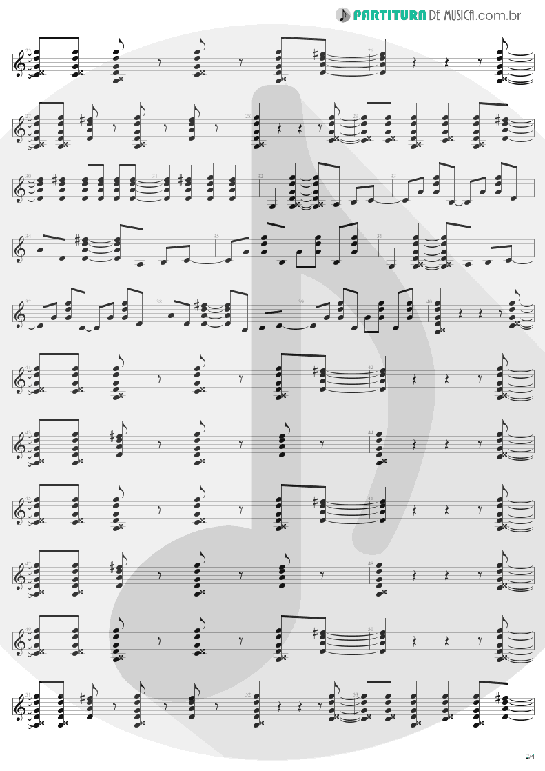 Partitura de musica de Guitarra Elétrica - You Shook Me All Night Long | AC/DC | Back In Black 1980 - pag 2