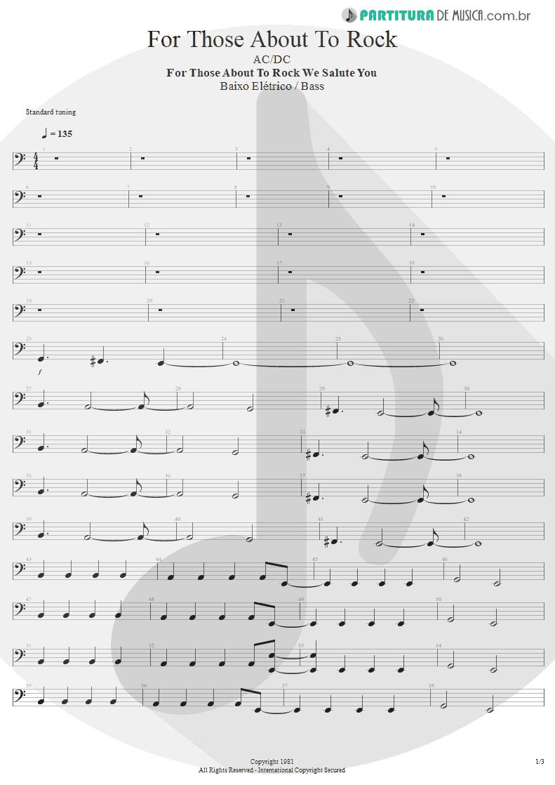 Partitura de musica de Baixo Elétrico - For Those About To Rock | AC/DC | For Those About to Rock We Salute You 1981 - pag 1