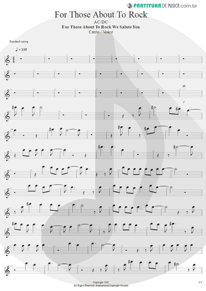Partitura de musica de Canto - For Those About To Rock | AC/DC | For Those About to Rock We Salute You 1981 - pag 1