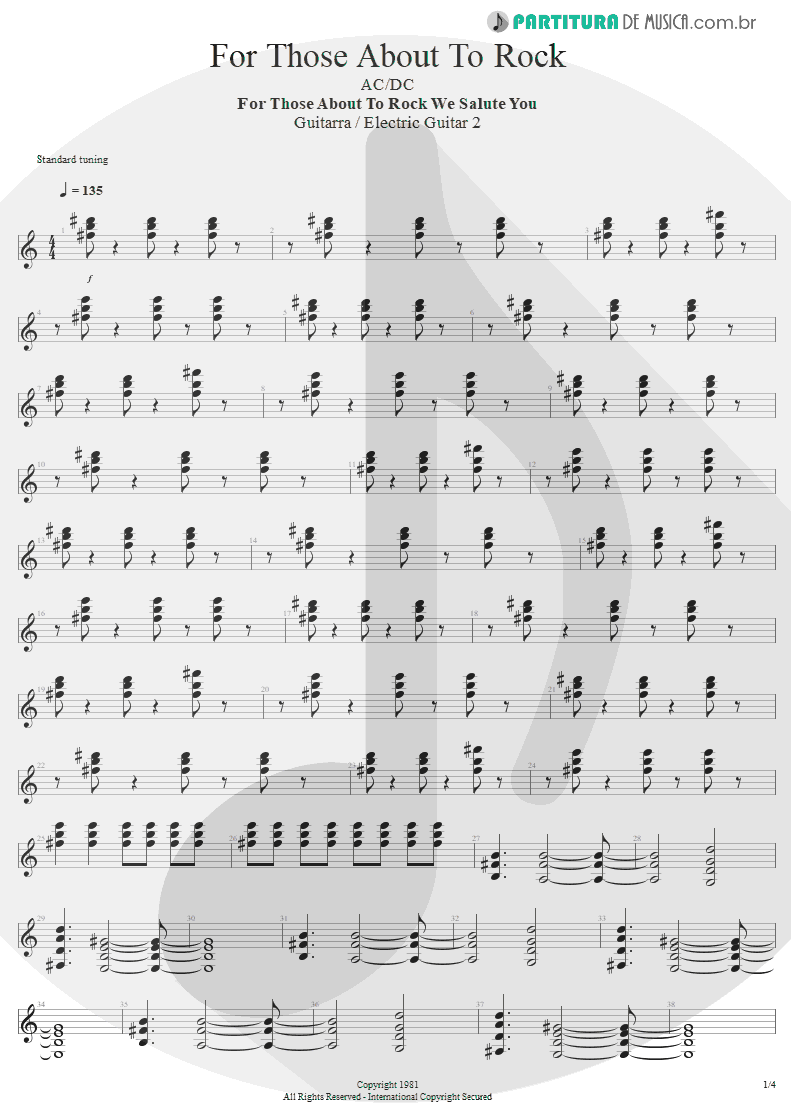 Partitura de musica de Guitarra Elétrica - For Those About To Rock | AC/DC | For Those About to Rock We Salute You 1981 - pag 1