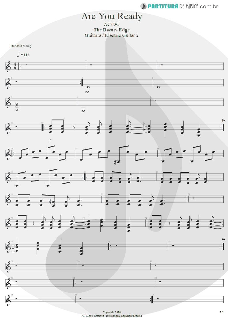 Partitura de musica de Guitarra Elétrica - Are You Ready | AC/DC | The Razors Edge 1990 - pag 1