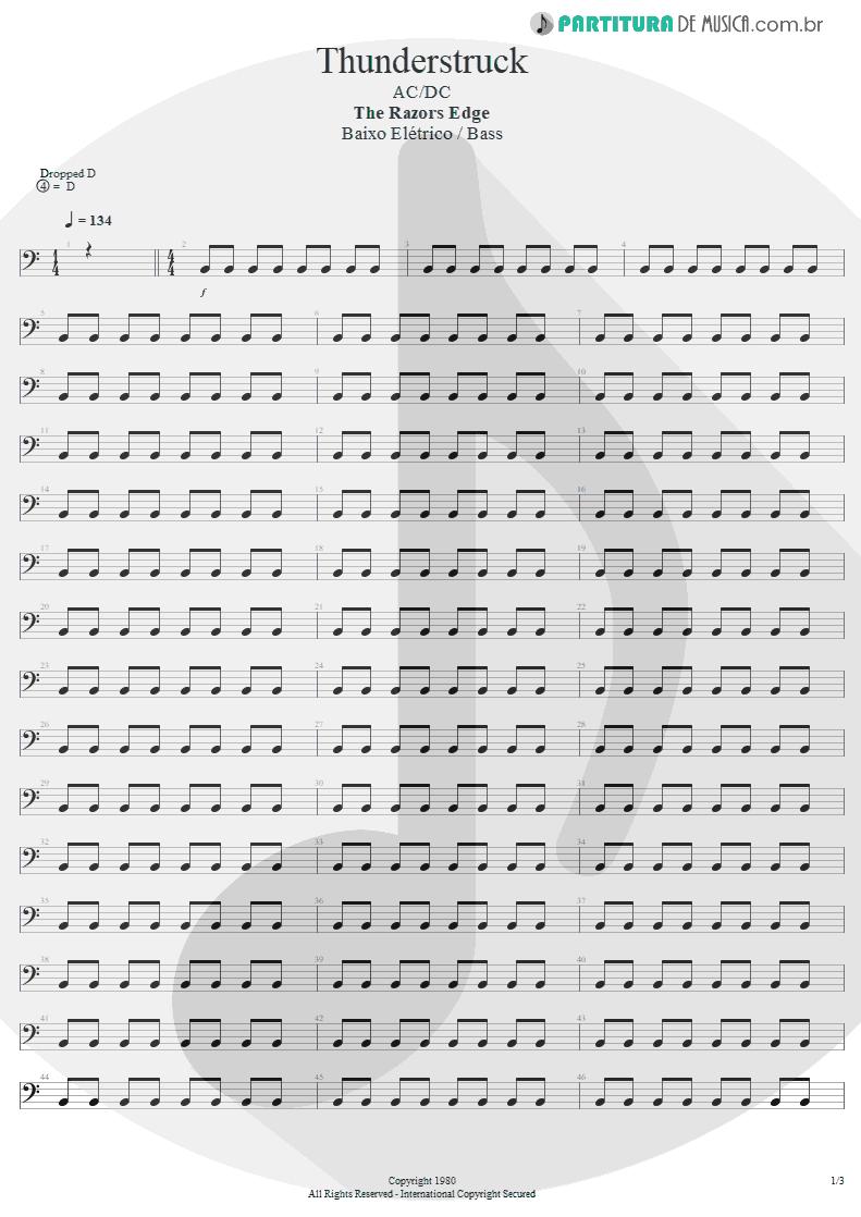 Partitura de musica de Baixo Elétrico - Thunderstruck | AC/DC | The Razors Edge 1990 - pag 1