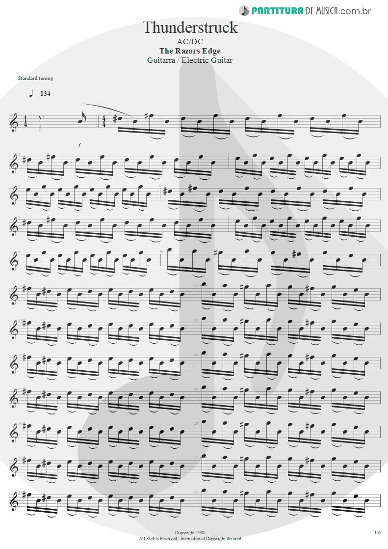 Partitura de musica de Guitarra Elétrica - Thunderstruck | AC/DC | The Razors Edge 1990 - pag 1