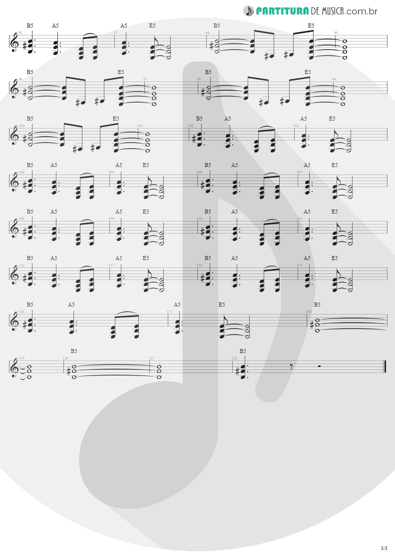 Partitura de musica de Guitarra Elétrica - Thunderstruck   AC/DC   The Razors Edge 1990 - pag 3
