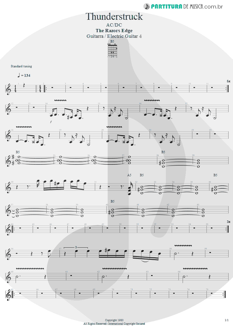 Partitura de musica de Guitarra Elétrica - Thunderstruck   AC/DC   The Razors Edge 1990 - pag 1