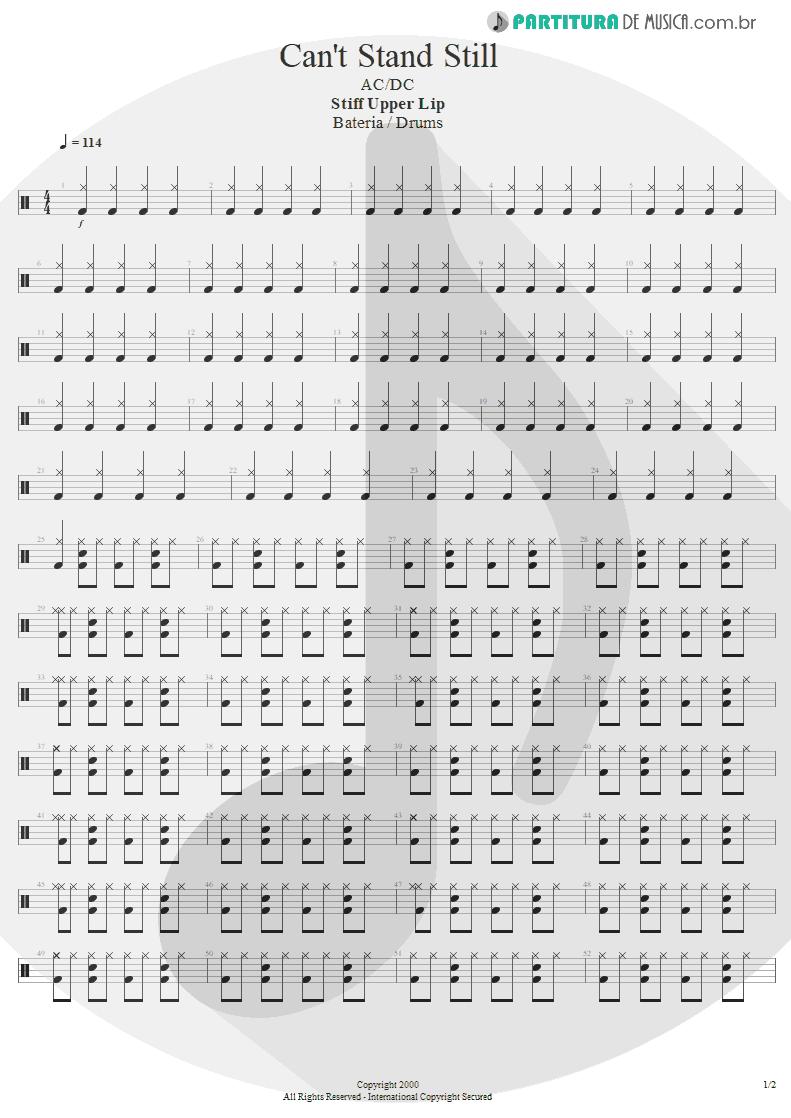 Partitura de musica de Bateria - Can't Stand Still | AC/DC | Stiff Upper Lip 2000 - pag 1