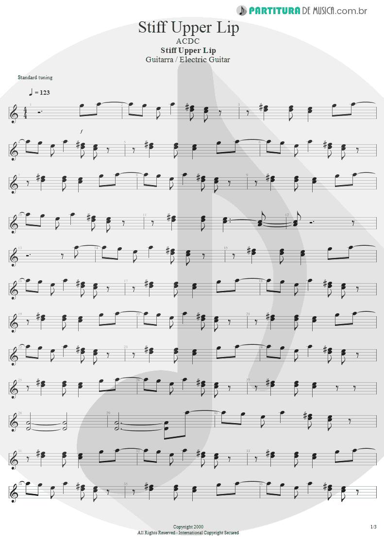 Partitura de musica de Guitarra Elétrica - Stiff Upper Lip | AC/DC | Stiff Upper Lip 2000 - pag 1